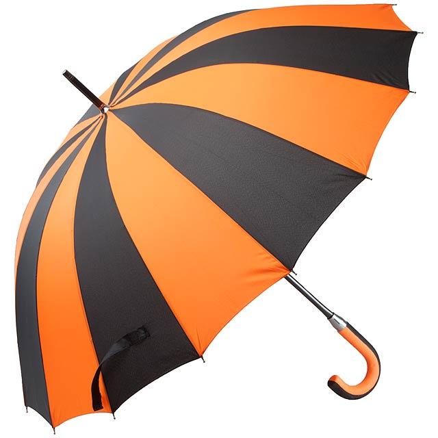 Mechanický, větruodolný deštník se 16ti panely, rukojeť EVA materiál, sklolaminátová konstrukce. - oranžová - foto