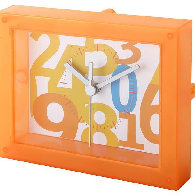 Barevné, stolní plastové hodiny se vzorovaným ciferníkem, bez baterií.  - oranžová - foto
