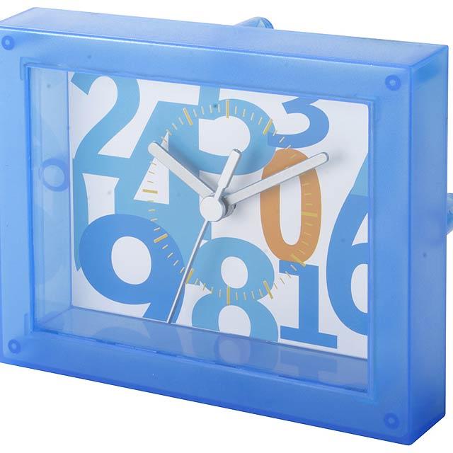 Timestant transparentní stolní hodiny - modrá