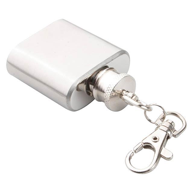Norge přívěšek na klíče s minibutylkou - stříbrná