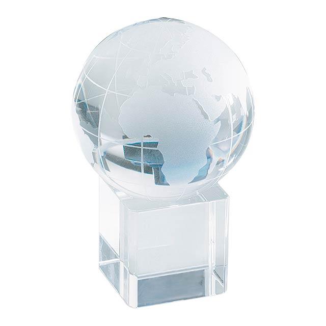 Satelite těžítko - glóbus, vhodný pro 3d laser - transparentní
