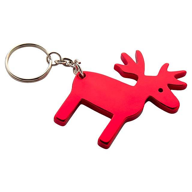 Reinsdyr přívěšek na klíče - červená