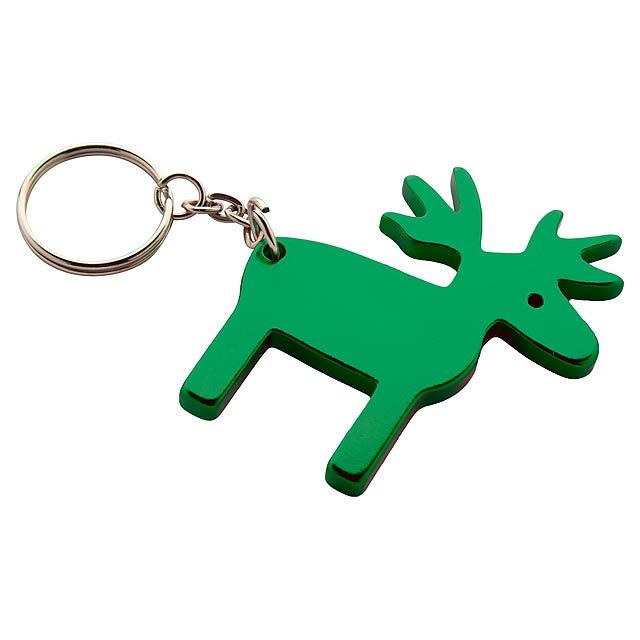Reinsdyr přívěšek na klíče - zelená