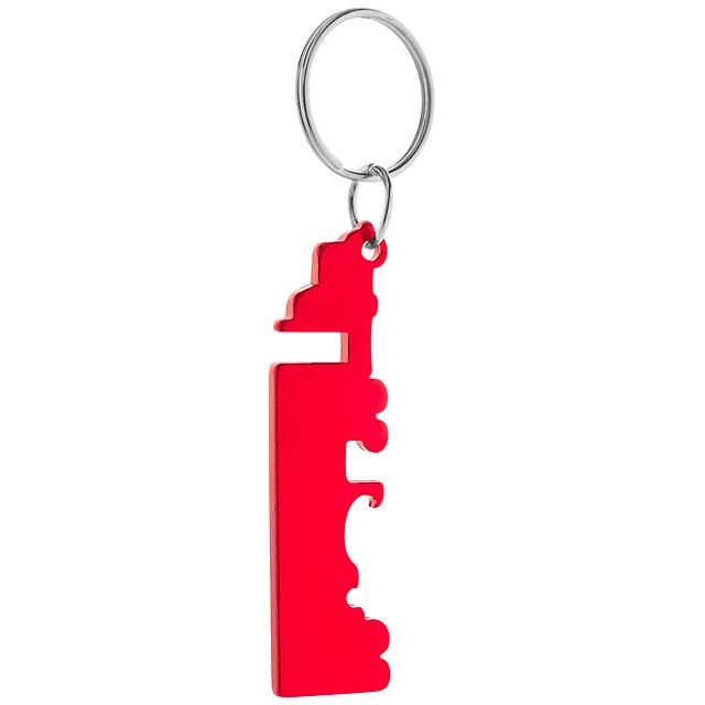 Peterby přívěšek na klíče s otvírákem - červená