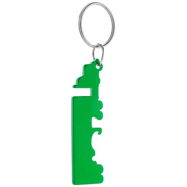 Peterby přívěšek na klíče s otvírákem - zelená