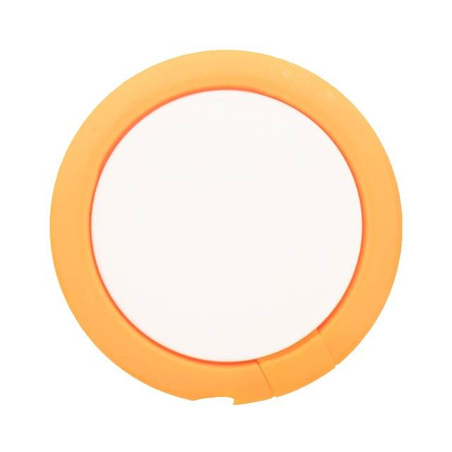 Kulatý, plastový stojánek na mobil s kroužkem na prst se samolepícím stranou. - oranžová - foto