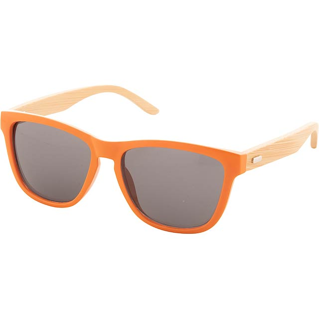 Sluneční brýle s barevnými plastovými obroučkami a bambusovými nožičkami. S ochranou UV 400. V kraftové papírové krabičce. - oranžová - foto