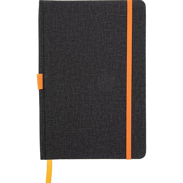 Texturovaný blok A5, potažený PU kůží se záložkou, gumičkou a držákem pera. 96 linkovaných listů. - oranžová - foto