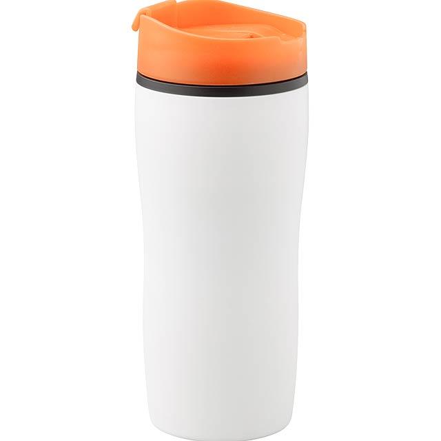 Bílý plastový, dvoustěnný termo hrnek s barevným víčkem na pití, 450 ml. Obsah: 450 ml - oranžová - foto
