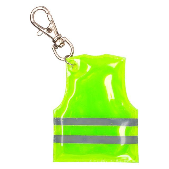 Pit Lane přívěšek na klíče ve tvaru reflexní vesty - žlutá