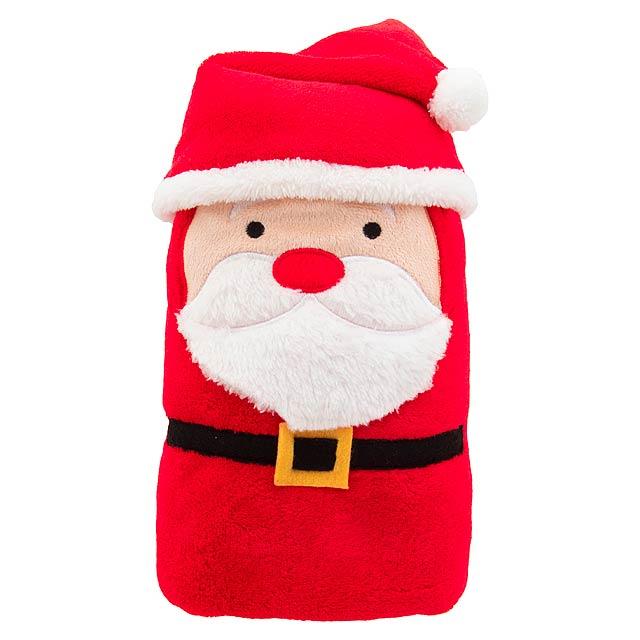 Hugger vánoční fleecová deka se Santa Clausem - červená