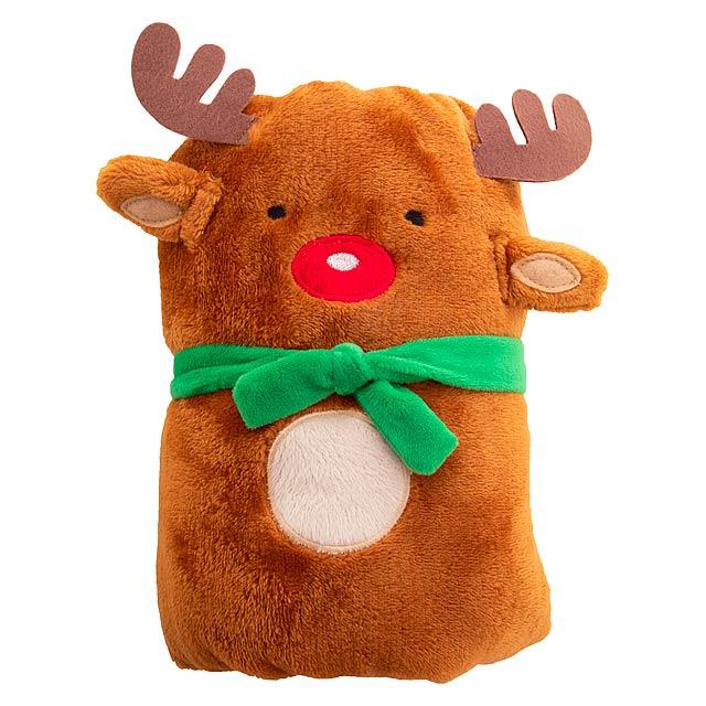 Hugger vánoční fleecová deka se Santa Clausem - hnědá