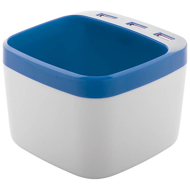 Warger stojánek na pera s USB hubem - modrá
