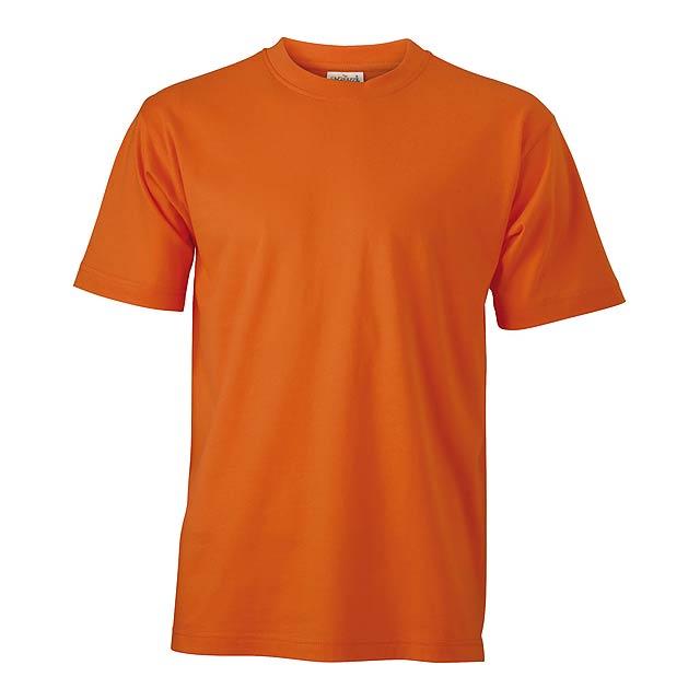 Tričko s kulatým výstřihem, ze 100% prstencově spřádané bavlny, 180 g/m². - oranžová - foto