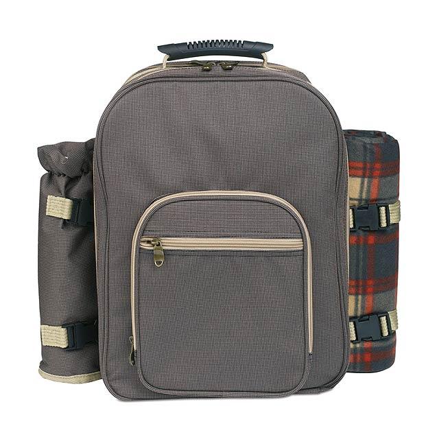Luxusní batoh na piknik pro 4 osoby s širokým příslušenstvím (příbory, talíře, deka, prkénko, nůž na pečivo, otvírák na víno, nerezové hrnky, slánka a pepřenka). 600D polyester. - hnědá - foto