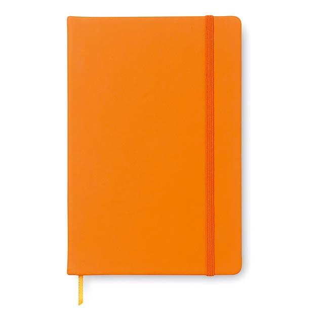 A5 poznámkový blok s gumičkou - oranžová