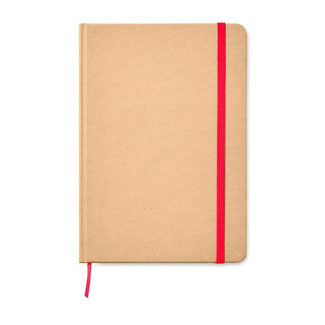 EVERWRITE - A5 zápisník v recykl. kartonu  - červená