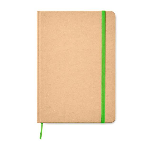 EVERWRITE - A5 zápisník v recykl. kartonu  - citrónová - limetková