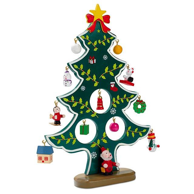 Dřevěná vánoční dekorace - WOODTREE - zelená