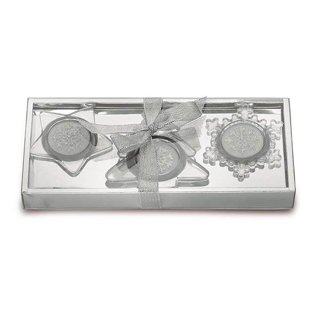 Sada 3 skleněných svícnů - GLASSIO - stříbrná mat