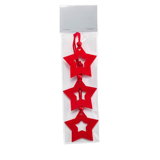 Star shape felt tree hanger  - red