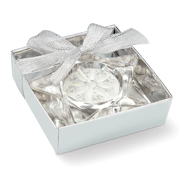 Star shaped candle holder  - matt silver