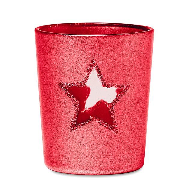 Stojan na čajovou svíčku - SHINNY STAR - červená