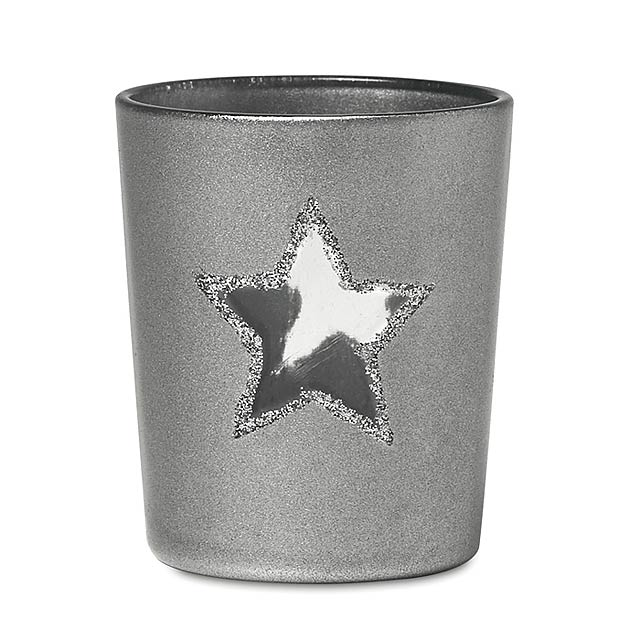 Stojan na čajovou svíčku - SHINNY STAR - stříbrná