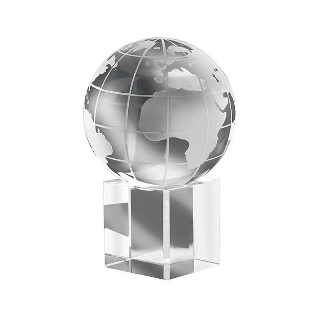Křišťálové těžítko ve tvaru zeměkoule. Dodávano v dárkové krabičce. - transparentní - foto
