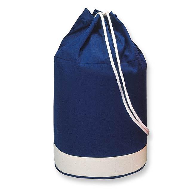 Bavlněný batoh zdobený bílým pruhem. 200 gr/m² bavlna. - modrá - foto