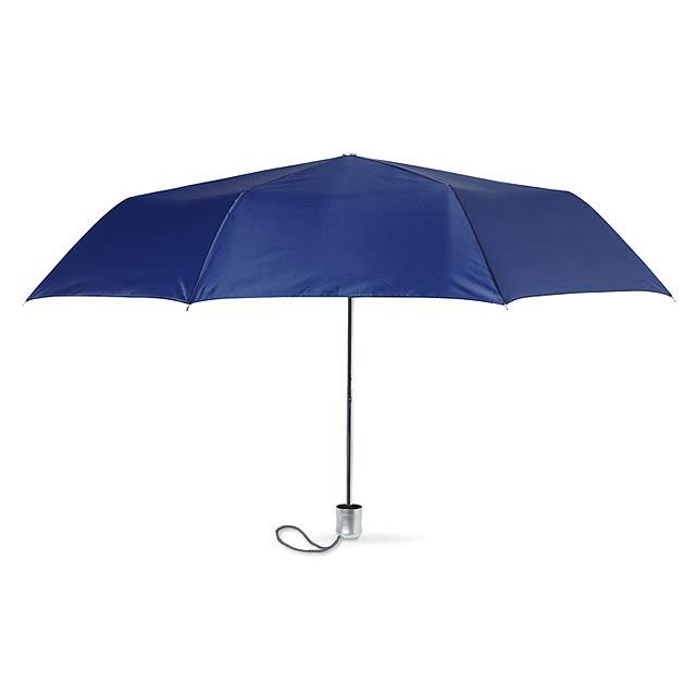 Dámský skládací mini deštník v pouzdře. Manuální. 190T polyester. - modrá - foto