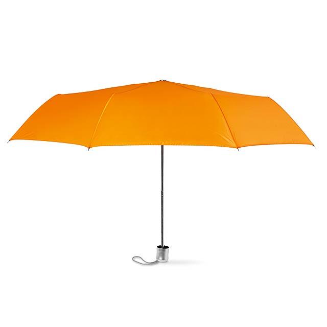 Dámský mini deštník v pouzdře. - oranžová