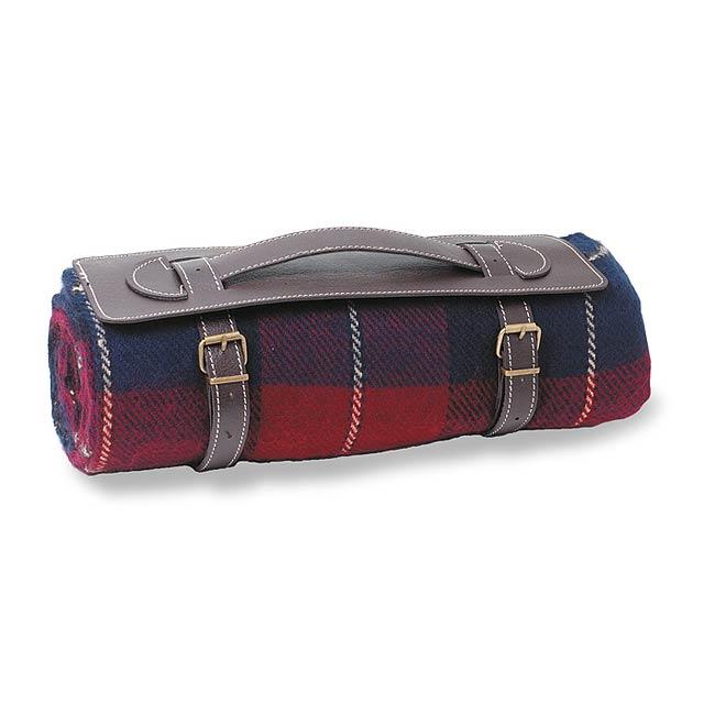 Kostkovaná deka vhodná na piknik nebo cestování. PVC popruh s uchem na pohodlné přenášení. 100% akryl. - multicolor - foto