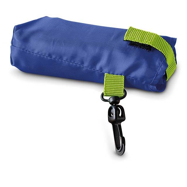 Skládací nákupní taška v pouzdře s plastovou karabinou. 190T polyester. - modrá - foto