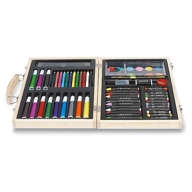 Sada na malování a kreslení, obsahuje 67 kusů. Dřevěná krabice. - dřevo - foto