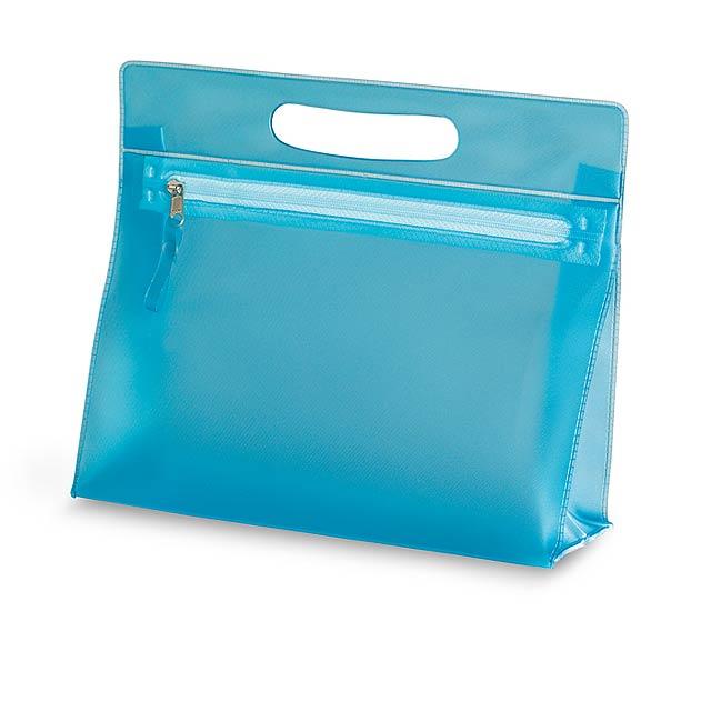 Transparentní kosmetická taštička z PVC. - modrá - foto