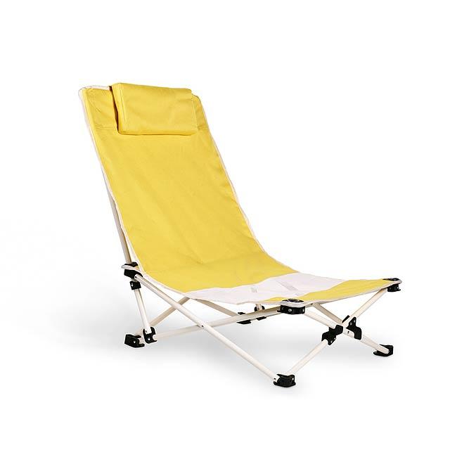 Pohodlná plážová židle. Ocelová konstrukce. 600D polyester. - žlutá - foto