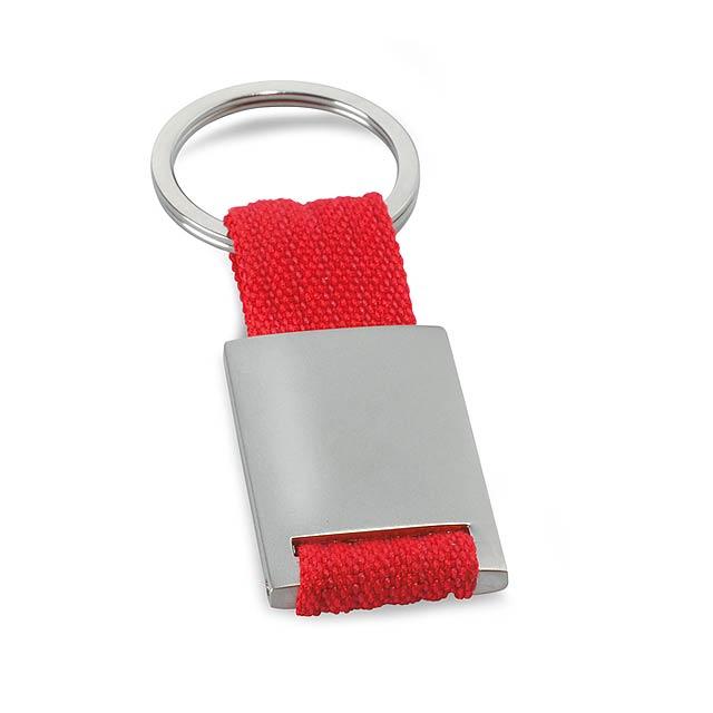 Metal - kovová klíčenka - červená