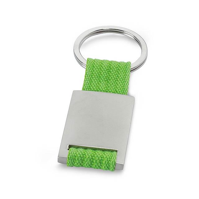 Kovový obdélníkový přívěšek na klíče s barevným proužkem. Baleno v černé dárkové krabičce. - citrónová - limetková - foto