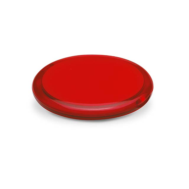 Double - dvojité kulaté zrcátko - transparentní červená
