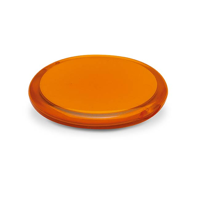 Kulaté dvojité zrcátko v transparentním pouzdře. - transparentní oranžová - foto