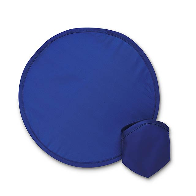 Foldable nylon Frisbee in pouch - blue