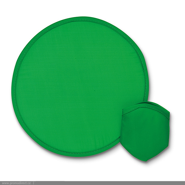 Foldable nylon Frisbee in pouch - green