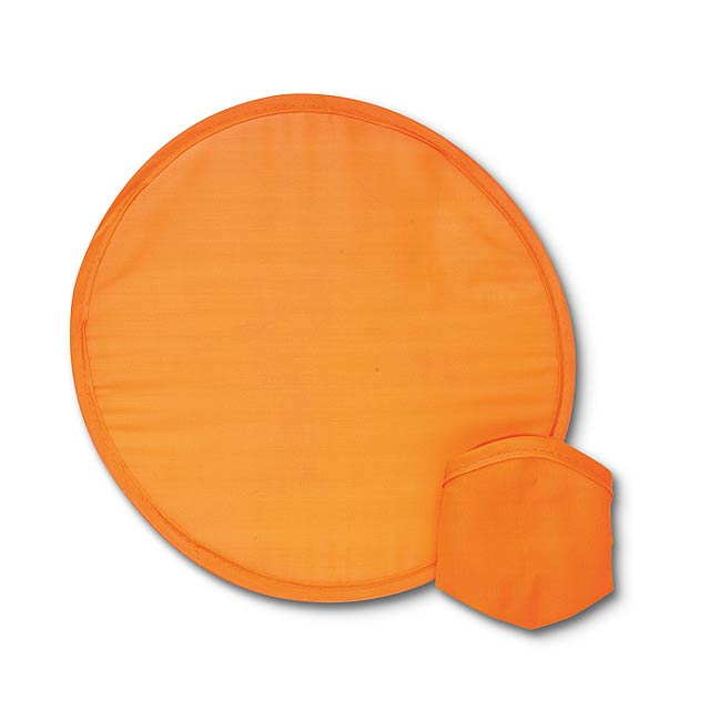 Foldable nylon Frisbee in pouch - orange