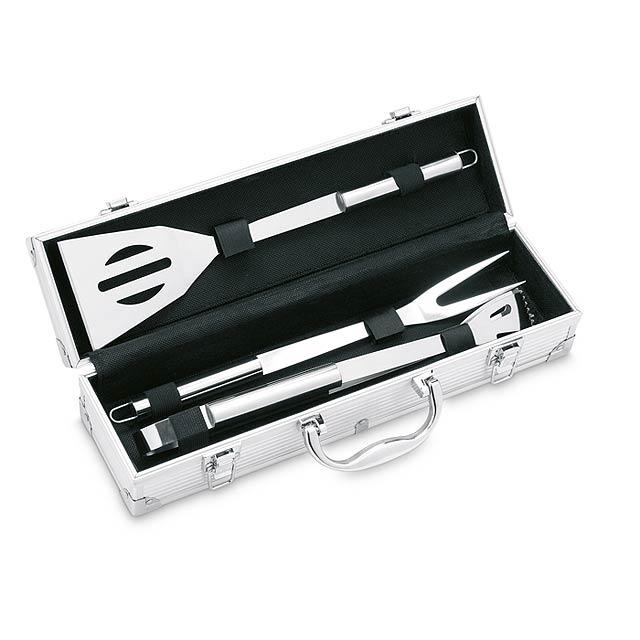 Hliníkový kufřík se 3 kusy příslušenství na barbecue grilování z nerezové oceli. - stříbrná - foto