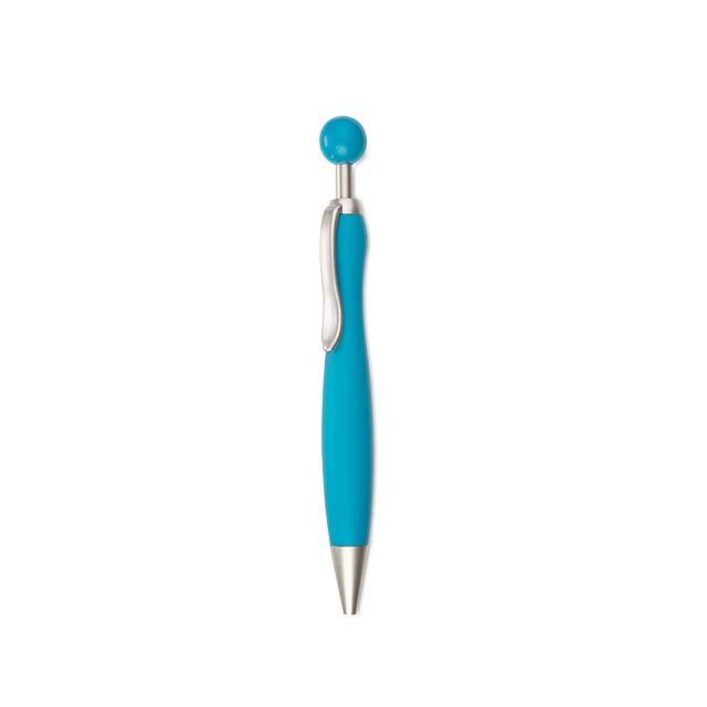 Plastové kuličkové pero, hrot a klip v matném stříbrném provedení. Černý inkoust. - nebesky modrá - foto
