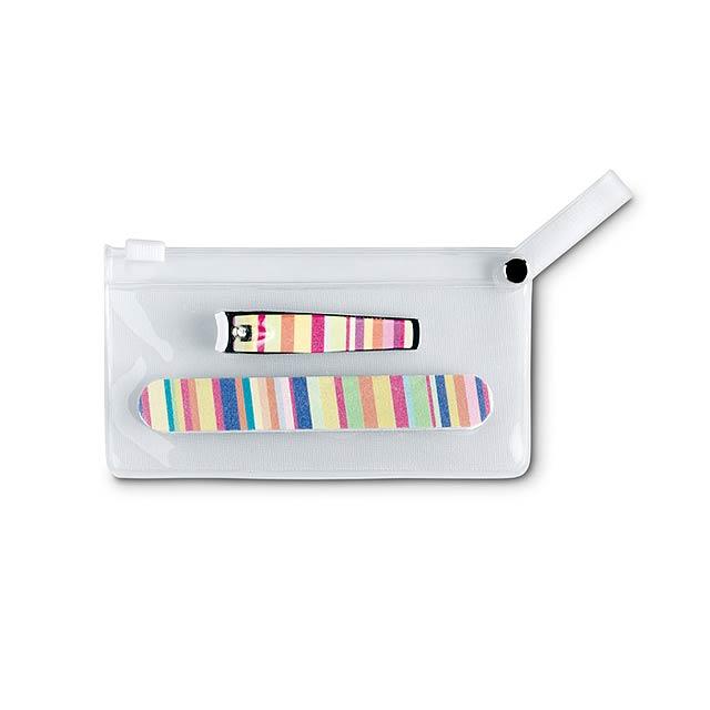 Barevná manikúra v průhledném pouzdře z PVC. Obsahuje pilník a kleštičky na nehty. - multicolor