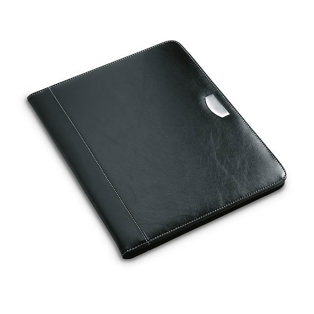 Konferenční desky A4 z PU zdobené kovovou destičkou. Obsahují dvacetistránkový poznámkový blok. - černá - foto