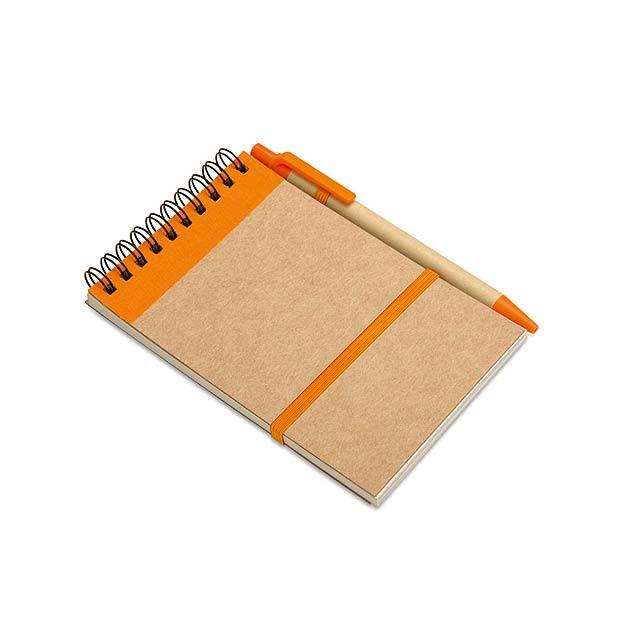 Recyklovaný blok s perem - oranžová