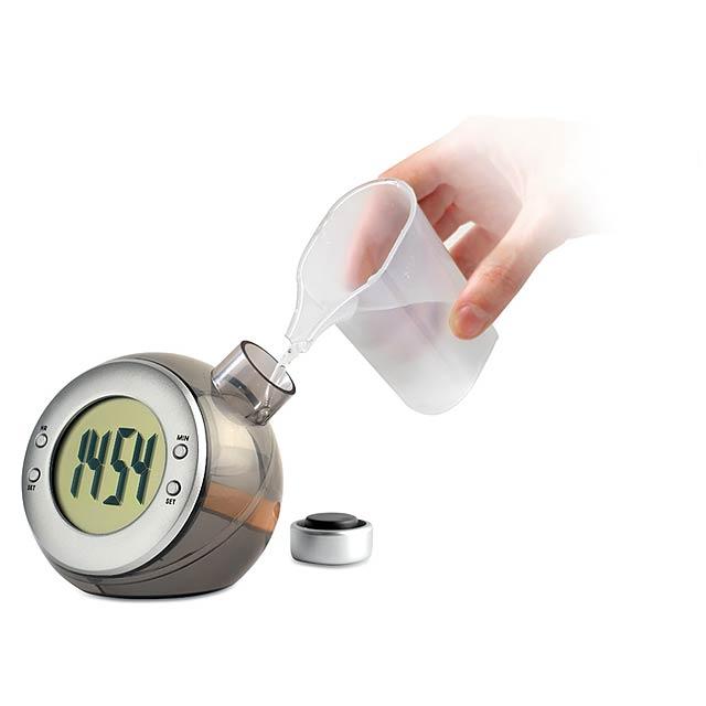 Vodné hodiny globus - strieborná mat